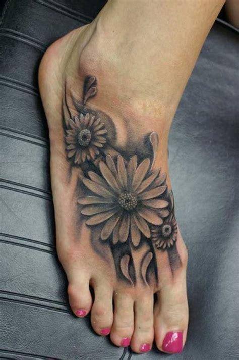 black and grey daisy tattoos 60 awesome daisy foot tattoos