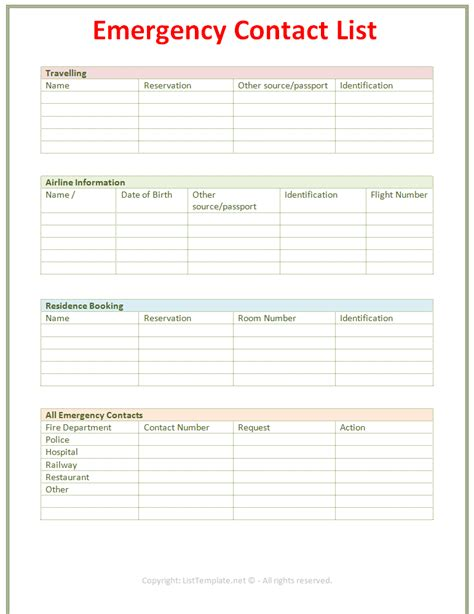 8 best images of free printable emergency contact form