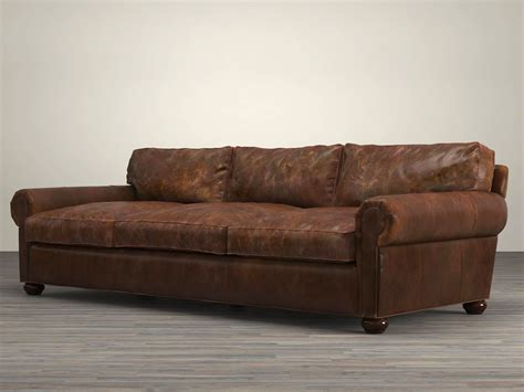 restoration hardware leather sofa 96 quot lancaster leather sofa 3d model restoration hardware