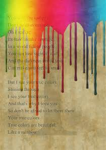colors lyrics poster with true colors lyrics remember how i told you