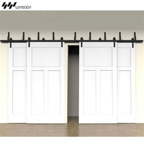 bypass sliding barn doors winsoon modern 4 doors bypass sliding barn door hardware track kit 5 16ft bent