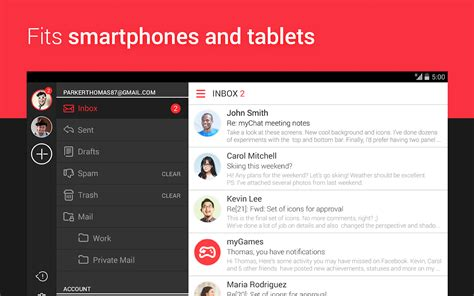 best android mail app mymail free email application screenshot