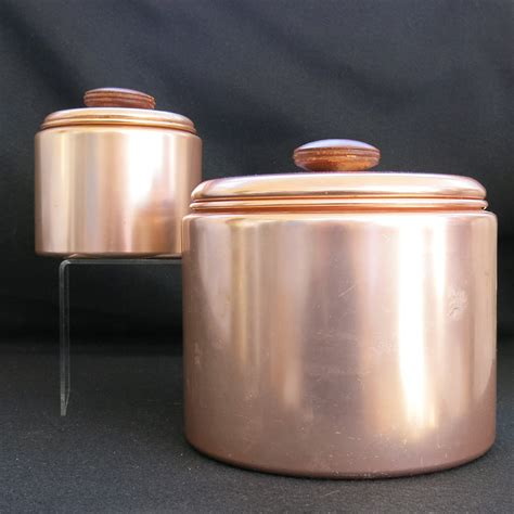 set of 3 vintage canister set mirro canisters kitchen set of 2 mirro mid century modern copper color aluminum