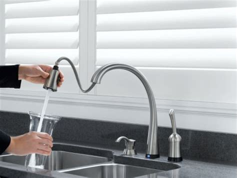 touch activated kitchen faucet touch activated kitchen faucet delta pilar pull down