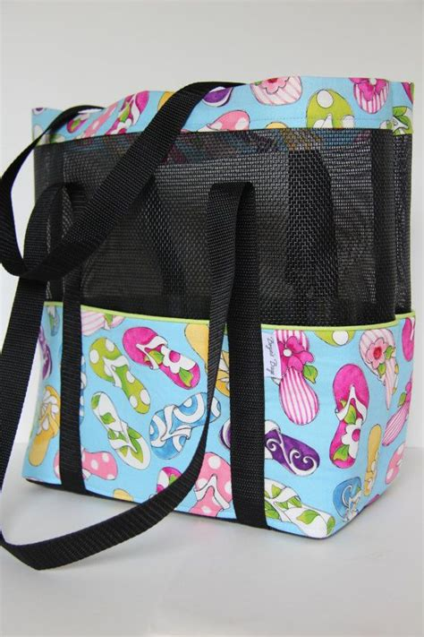 pattern for vinyl tote bag mesh beach tote with outside pockets in blue cotton by