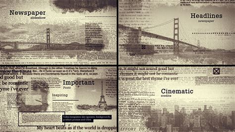 Old Newspapers Hedlines Grunge After Effects Templates F5 Design Com Newspaper After Effects Template