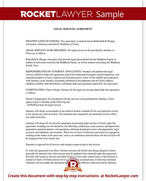 legal services agreement contract form with sle