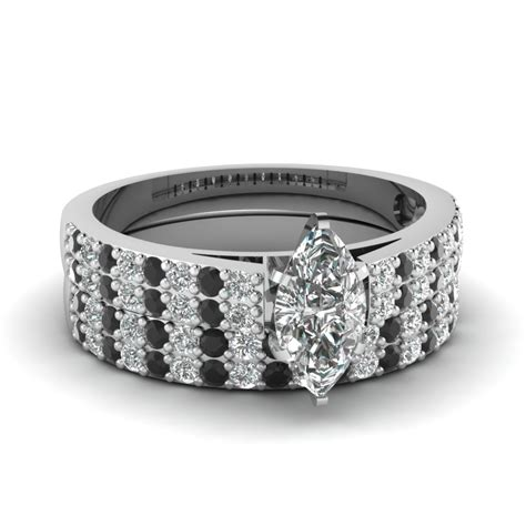 marquise shaped wedding ring set with black