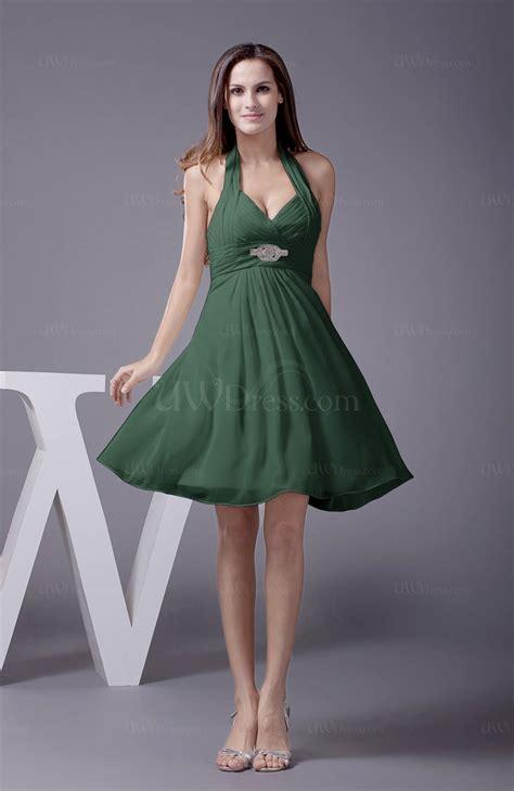 hunter green elegant halter sleeveless zip  knee length