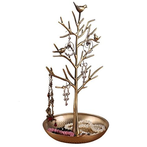silver bell tree holder inviktus silver birds tree jewelry stand display earring necklace holder organizer rack tower