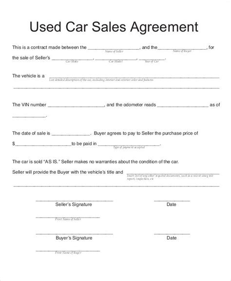 Used Car Agreement Template Sle Vehicle Sales Contract 11 Exles In Word Pdf