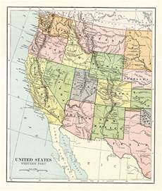 1887 original map of the western united states