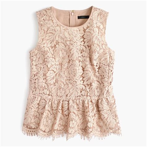 lace top j crew lace peplum top lyst