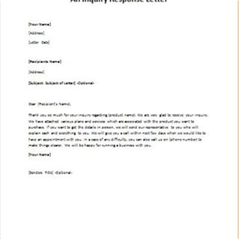 Response Letter To Inquiry Formal Official And Professional Letter Templates