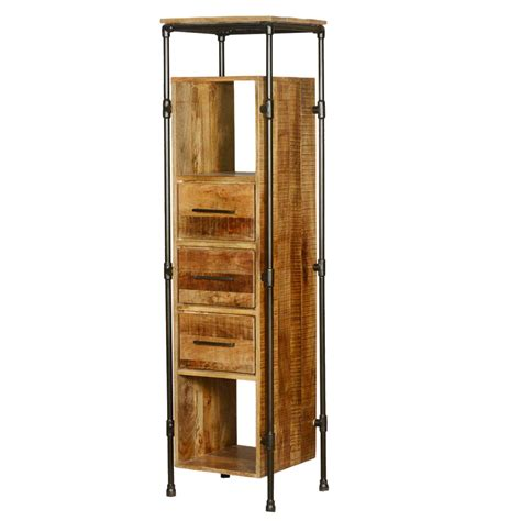 Wooden Storage Tower With Drawers by Industrial Mango Wood Iron Storage Tower W 3 Drawers 3