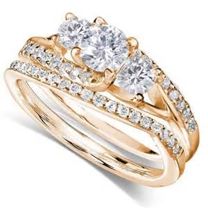 gold wedding set certified 1 carat trilogy wedding ring set in yellow gold jeenjewels