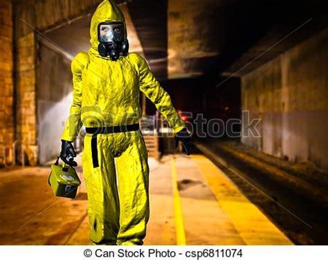 Hazmat Background Check Drawing Of Hazardous Material Inspector Dressed In Yellow Hazmat Csp6811074