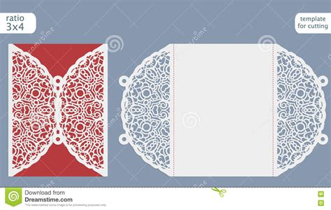 Laser Cut Wedding Invitation Card Template Cut Out The Paper Card With Lace Pattern Stock Card Cut Out Template