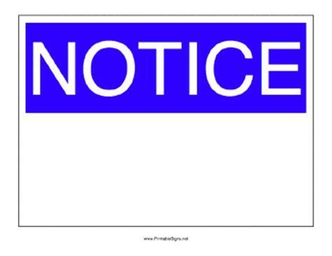 Notice by Printable Notice Sign