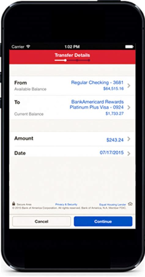 can you make a bank transfer from a credit card mobile banking features offered by bank of america small