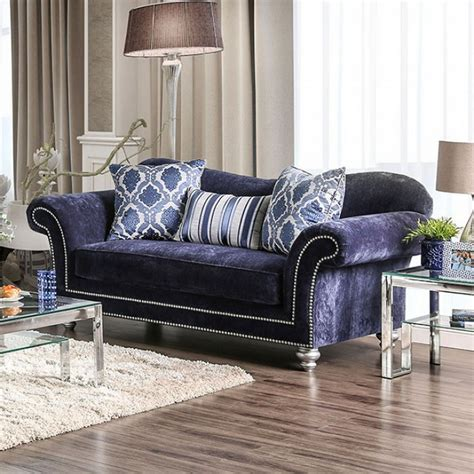 nailhead trim sofa set eleanor transitional navy blue microfiber sofa set w