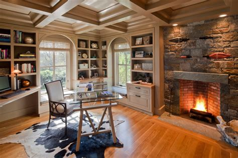 Farmhouse Kitchen Ideas On A Budget fireplace traditional home office boston by