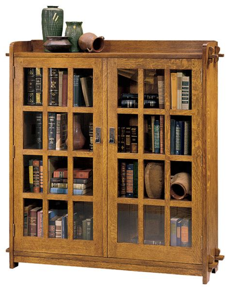 Oak Bookcase With Glass Doors Stickley Double Bookcase With Glass Doors 89 645