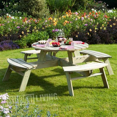 circular picnic benches round 8 seater picnic pub garden table bench westmount living