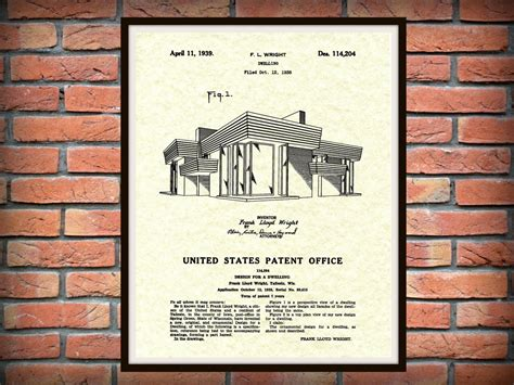 frank lloyd wright prints patent 1939 frank lloyd wright house architecture