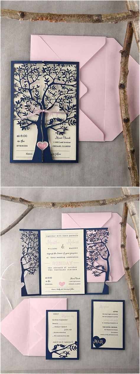 Rustic Laser Cut Tree Pink Navy Wedding Invitations   Navy weddings and Laser cutting