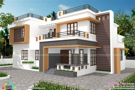 home parapet designs kerala style contemporary home design by first concept palakkad
