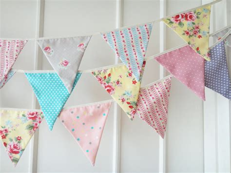 new shabby chic bunting fabric banners wedding bunting