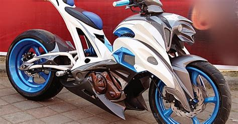 Supra X 125 2005 Biru Putih supra x 125 modif putih biru techno transformer oto trendz