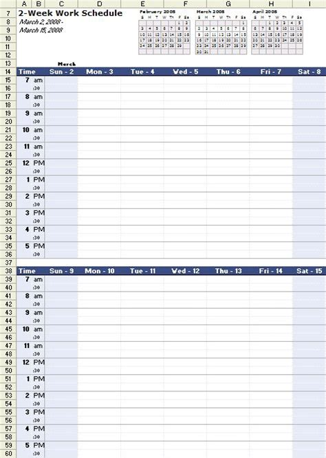 work calendars templates a free bi weekly work schedule template for excel at http