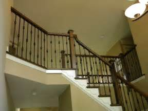 wood stairs and rails and iron balusters iron balusters and new handrail new hope pa