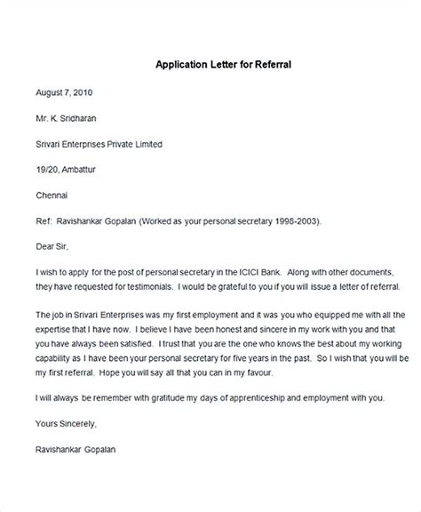 Cover Letter Sle Referral by Application Letter With Referral 28 Images Sle Cover Letter With Referral Letter Template