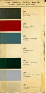 Porsche 356 Paint Codes Porsche 356 B Color Chart