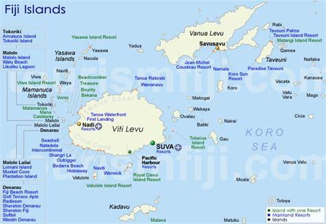 fiji islands map fiji map accommodation map of fiji islands