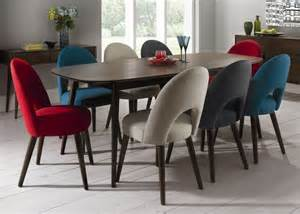 Dining Sets With Upholstered Chairs Retro Walnut Extending Dining Table With 8 Upholstered