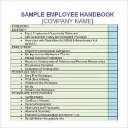 employees handbook template employee handbook template 6 free pdf doc