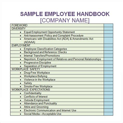 template for handbook employee handbook template 6 free pdf doc