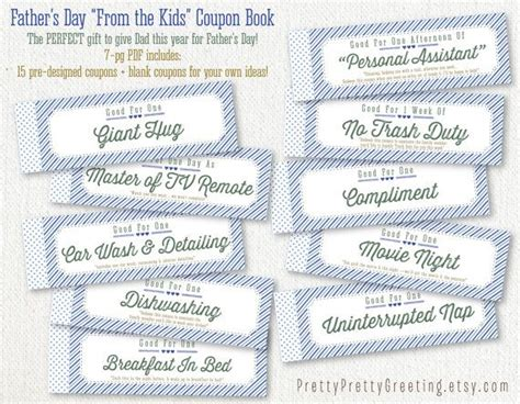 coupon book ideas fathers day gift printable coupon book gift from