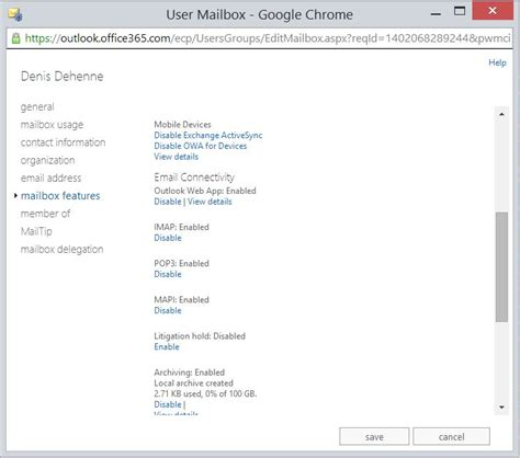 Office 365 Outlook Mailbox Size Disabling Outlook Web Access Or Activesync For Users In