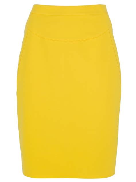 yellow pattern pencil skirt dsquared2 dart pencil skirt in yellow lyst
