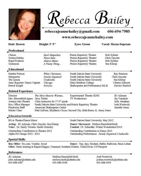 theatre resume templates theatre resume template cyberuse