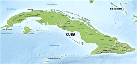 physical map of cuba kuba physik karte