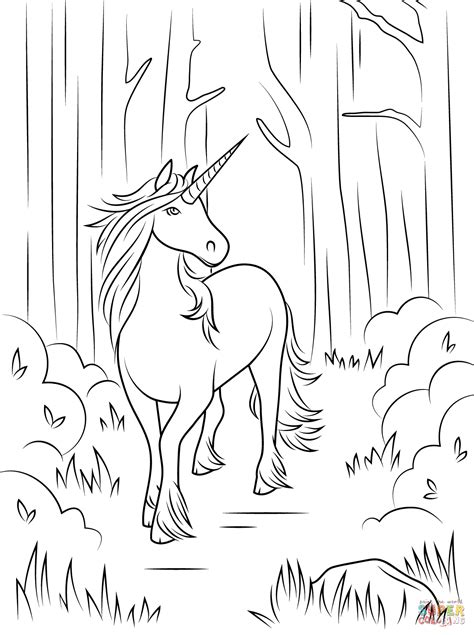 black and white coloring pages of unicorns forest unicorn coloring page free printable coloring pages