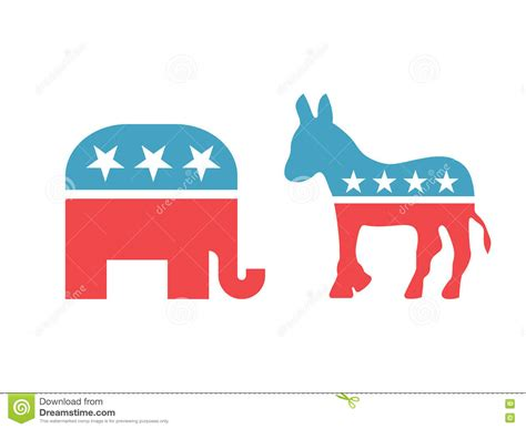 what color is the democratic elephant and in american national colors isolated