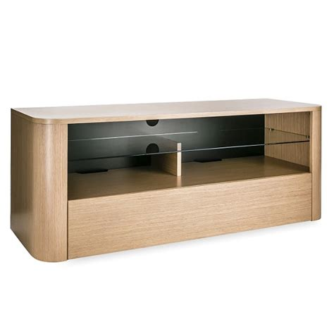 Wooden Tv Shelf by Cardiff Wooden Tv Stand In Light Oak With Glass Shelf 26253