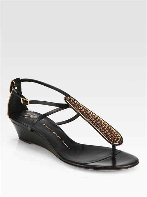 Giuseppe Zanotti Architectural Wedge Sandal It Or It by Giuseppe Zanotti Crystalcoated Leather Tstrap Wedge